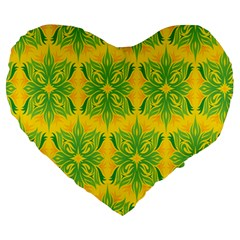 Floral Flower Star Sunflower Green Yellow Large 19  Premium Heart Shape Cushions by Alisyart
