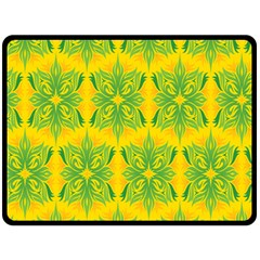 Floral Flower Star Sunflower Green Yellow Double Sided Fleece Blanket (large)  by Alisyart