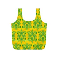 Floral Flower Star Sunflower Green Yellow Full Print Recycle Bags (s)  by Alisyart