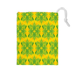 Floral Flower Star Sunflower Green Yellow Drawstring Pouches (large)  by Alisyart