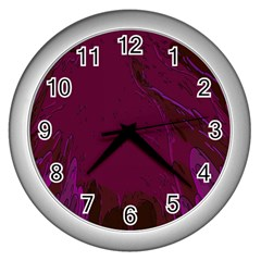 Abstract Purple Pattern Wall Clocks (silver)