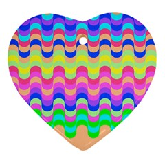 Dna Early Childhood Wave Chevron Woves Rainbow Ornament (heart) by Alisyart
