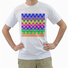 Dna Early Childhood Wave Chevron Woves Rainbow Men s T Shirt (white) (two Sided) by Alisyart