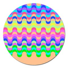 Dna Early Childhood Wave Chevron Woves Rainbow Magnet 5  (round)