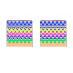 Dna Early Childhood Wave Chevron Woves Rainbow Cufflinks (square) by Alisyart