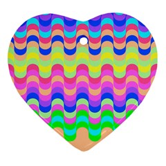 Dna Early Childhood Wave Chevron Woves Rainbow Heart Ornament (two Sides) by Alisyart