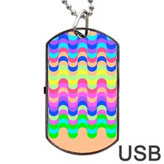 Dna Early Childhood Wave Chevron Woves Rainbow Dog Tag Usb Flash (one Side)