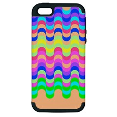 Dna Early Childhood Wave Chevron Woves Rainbow Apple Iphone 5 Hardshell Case (pc+silicone) by Alisyart