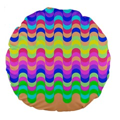Dna Early Childhood Wave Chevron Woves Rainbow Large 18  Premium Round Cushions