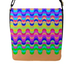 Dna Early Childhood Wave Chevron Woves Rainbow Flap Messenger Bag (l)  by Alisyart