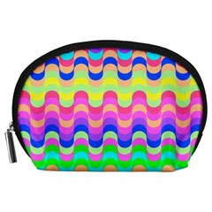 Dna Early Childhood Wave Chevron Woves Rainbow Accessory Pouches (large)