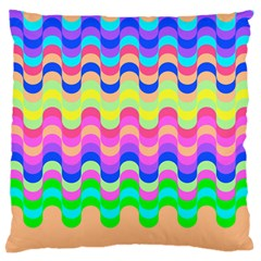 Dna Early Childhood Wave Chevron Woves Rainbow Large Flano Cushion Case (one Side) by Alisyart