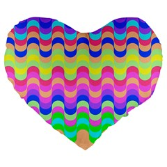 Dna Early Childhood Wave Chevron Woves Rainbow Large 19  Premium Flano Heart Shape Cushions