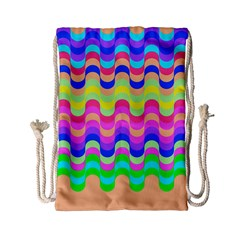 Dna Early Childhood Wave Chevron Woves Rainbow Drawstring Bag (small) by Alisyart