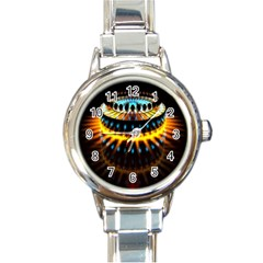Abstract Led Lights Round Italian Charm Watch by Simbadda