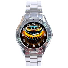 Abstract Led Lights Stainless Steel Analogue Watch by Simbadda