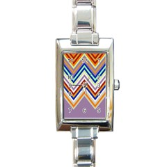 Chevron Wave Color Rainbow Triangle Waves Grey Rectangle Italian Charm Watch by Alisyart