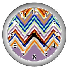 Chevron Wave Color Rainbow Triangle Waves Grey Wall Clocks (silver)