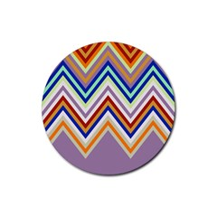 Chevron Wave Color Rainbow Triangle Waves Grey Rubber Round Coaster (4 Pack)  by Alisyart