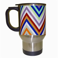 Chevron Wave Color Rainbow Triangle Waves Grey Travel Mugs (white)