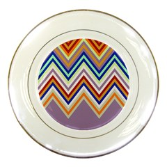 Chevron Wave Color Rainbow Triangle Waves Grey Porcelain Plates