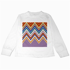 Chevron Wave Color Rainbow Triangle Waves Grey Kids Long Sleeve T Shirts