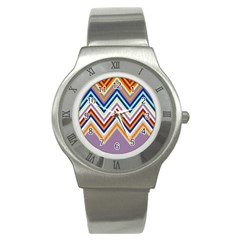 Chevron Wave Color Rainbow Triangle Waves Grey Stainless Steel Watch