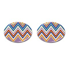Chevron Wave Color Rainbow Triangle Waves Grey Cufflinks (oval)