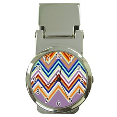 Chevron Wave Color Rainbow Triangle Waves Grey Money Clip Watches