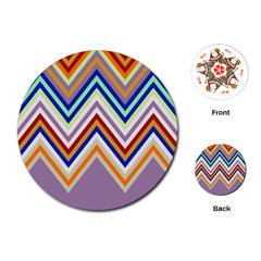 Chevron Wave Color Rainbow Triangle Waves Grey Playing Cards (round)
