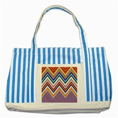 Chevron Wave Color Rainbow Triangle Waves Grey Striped Blue Tote Bag by Alisyart