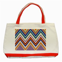 Chevron Wave Color Rainbow Triangle Waves Grey Classic Tote Bag (red)