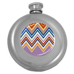 Chevron Wave Color Rainbow Triangle Waves Grey Round Hip Flask (5 Oz)