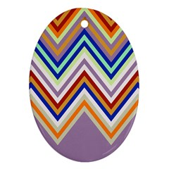 Chevron Wave Color Rainbow Triangle Waves Grey Oval Ornament (two Sides)