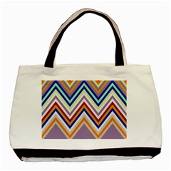 Chevron Wave Color Rainbow Triangle Waves Grey Basic Tote Bag (two Sides)