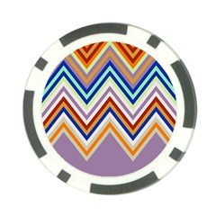 Chevron Wave Color Rainbow Triangle Waves Grey Poker Chip Card Guard