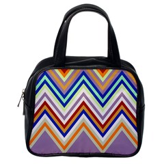 Chevron Wave Color Rainbow Triangle Waves Grey Classic Handbags (one Side)