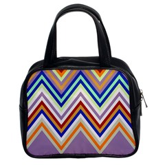 Chevron Wave Color Rainbow Triangle Waves Grey Classic Handbags (2 Sides)