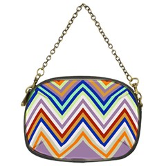 Chevron Wave Color Rainbow Triangle Waves Grey Chain Purses (two Sides)