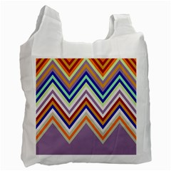 Chevron Wave Color Rainbow Triangle Waves Grey Recycle Bag (two Side)