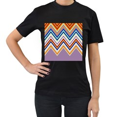 Chevron Wave Color Rainbow Triangle Waves Grey Women s T Shirt (black)