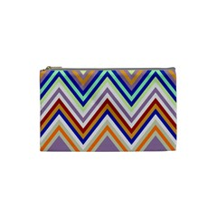 Chevron Wave Color Rainbow Triangle Waves Grey Cosmetic Bag (small)