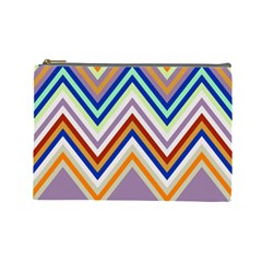 Chevron Wave Color Rainbow Triangle Waves Grey Cosmetic Bag (large)