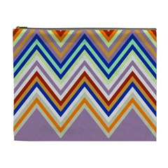 Chevron Wave Color Rainbow Triangle Waves Grey Cosmetic Bag (xl)
