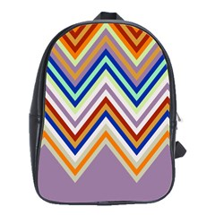 Chevron Wave Color Rainbow Triangle Waves Grey School Bags(large)