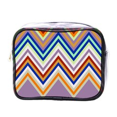 Chevron Wave Color Rainbow Triangle Waves Grey Mini Toiletries Bags
