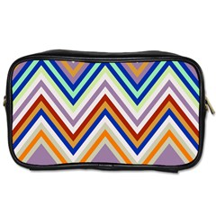 Chevron Wave Color Rainbow Triangle Waves Grey Toiletries Bags 2 Side