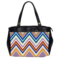 Chevron Wave Color Rainbow Triangle Waves Grey Office Handbags (2 Sides)