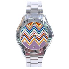 Chevron Wave Color Rainbow Triangle Waves Grey Stainless Steel Analogue Watch