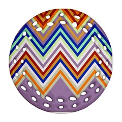 Chevron Wave Color Rainbow Triangle Waves Grey Ornament (round Filigree)